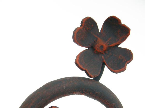 表札 アイアン表札・戸建用表札/サビにくい鉄製ハンドメイド/植物・四つ葉のクロ−バー/039-04kb