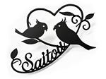 表札;アイアン表札・戸建用表札/サビにくい鉄製ハンドメイド/動物・植物・小鳥・インコ/039-102