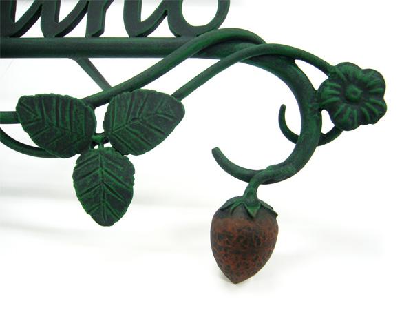 表札;アイアン表札・戸建用表札/サビにくい鉄製ハンドメイド/植物・フルーツ・イチゴ・苺/039-60