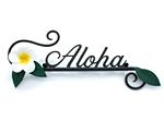 表札 アイアン表札・戸建用表札/サビにくい鉄製ハンドメイド/植物・花・プルメリア・ハワイアン/039-96