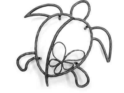 アイアン妻飾り・オーナメント/サビにくい鉄製ハンドメイド/動物・亀・カメ・植物・花・プルメリア・ハワイアン/094-bh