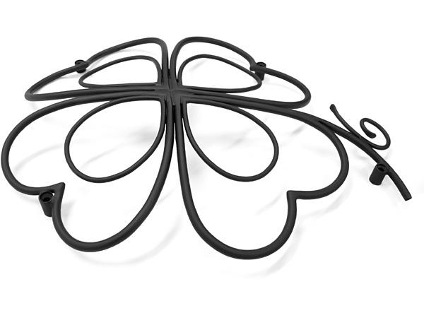 アイアン妻飾り・オーナメント/サビにくい鉄製ハンドメイド/植物・四つ葉のクローバー/094-h2