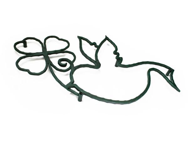 アイアン妻飾り・オーナメント/サビにくい鉄製ハンドメイド/鳥・小鳥・四つ葉のクローバー・幸運/094-j-2
