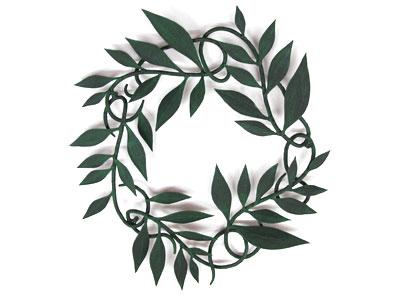 アイアン妻飾り・オーナメント/サビにくい鉄製ハンドメイド/植物・リーフ・葉/094-m