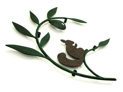 アイアン妻飾り・オーナメント/サビにくい鉄製ハンドメイド/植物・リーフ・葉・リス/094-n-r