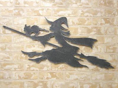 アイアン妻飾り・オーナメント/サビにくい鉄製ハンドメイド/魔女と猫・動物/094-zl