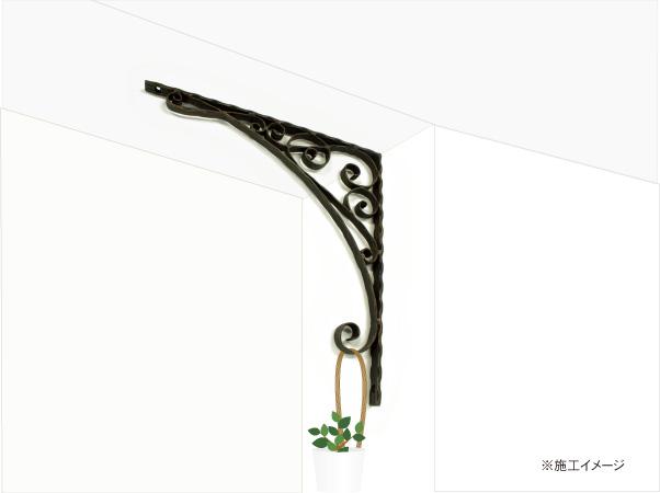 アイアンブラケット飾り/サビにくい鉄製ハンドメイド//br-1-400