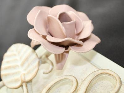 表札 アイアン表札・サインポール対応表札/サビにくい鉄製ハンドメイド/植物・花・バラ・薔薇/ex-04