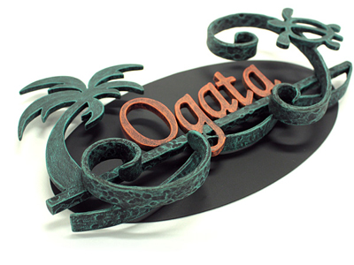 表札 アイアン表札・サインポール対応表札/サビにくい鉄製ハンドメイド/植物・ヤシの木・動物・亀・カメ・ハワイアン/ex-07