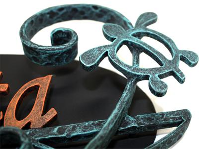 表札;アイアン表札・サインポール対応表札/サビにくい鉄製ハンドメイド/植物・ヤシの木・動物・亀・カメ・ハワイアン/ex-07
