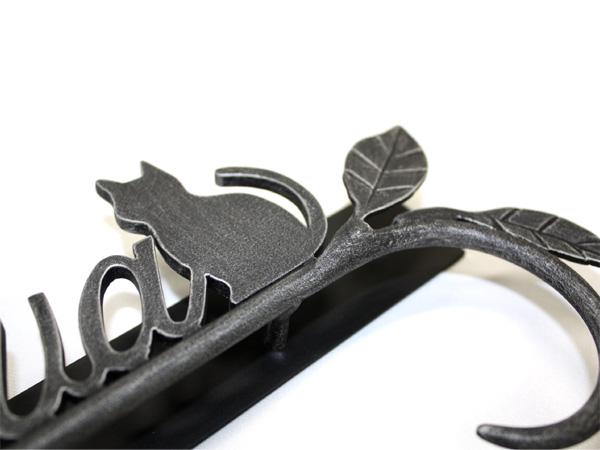 表札;アイアン表札・サインポール対応表札/サビにくい鉄製ハンドメイド/動物・猫・ネコ・植物・葉/ex-08