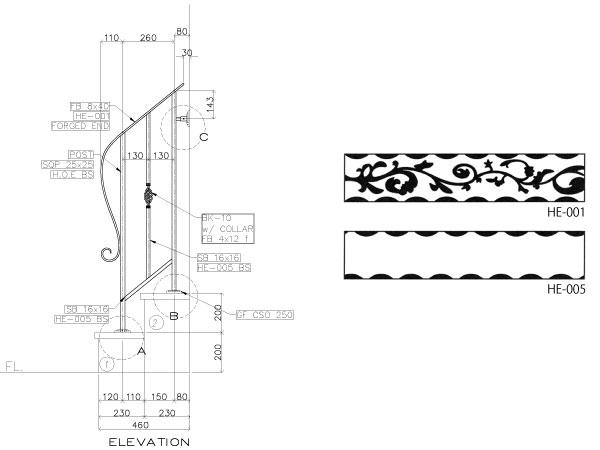 アイアン手すり・階段手すり/サビにくい鉄製ハンドメイド/屋内屋外兼用型・2段タイプ/hr-2-standard1