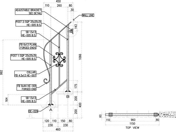 アイアン手すり・階段手すり/サビにくい鉄製ハンドメイド/屋内屋外兼用型・2段タイプ/hr-2-standard3