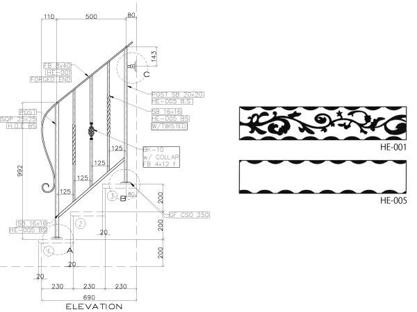 アイアン手すり・階段手すり/サビにくい鉄製ハンドメイド/屋内屋外兼用型・階段手すり・手摺り・手擦り/hr-3-standard1