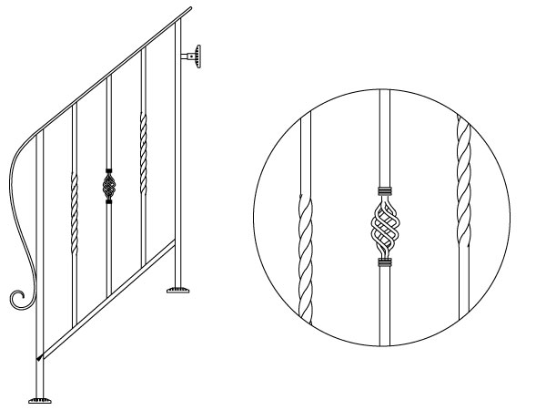 アイアン手すり・階段手すり/サビにくい鉄製ハンドメイド/屋内屋外兼用型・3段タイプ/hr-3-standard1