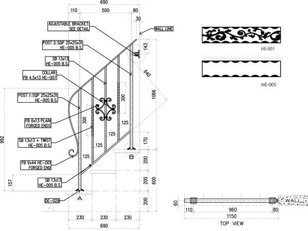 アイアン手すり・階段手すり/サビにくい鉄製ハンドメイド/屋内屋外兼用型・階段手すり・手摺り・手擦り/hr-3-standard3