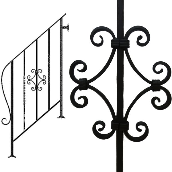 アイアン手すり・階段手すり/サビにくい鉄製ハンドメイド/屋内屋外兼用型・3段タイプ/hr-3-standard3