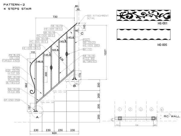 アイアン手すり・階段手すり/サビにくい鉄製ハンドメイド/屋内屋外兼用型・4段タイプ/hr-4-standard1