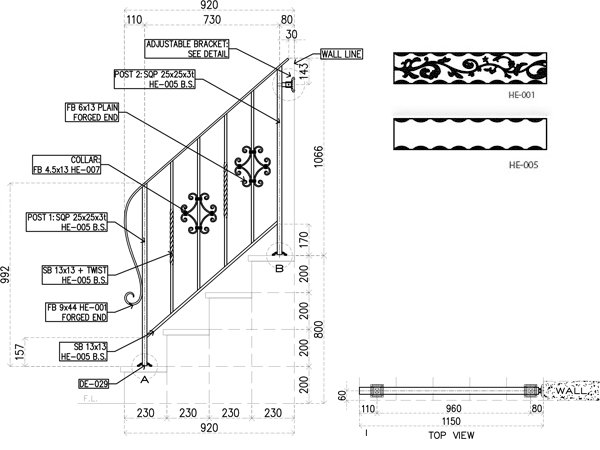 アイアン手すり・階段手すり/サビにくい鉄製ハンドメイド/屋内屋外兼用型・階段手すり・手摺り・手擦り/hr-4-standard3