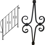 アイアン手すり・階段手すり/サビにくい鉄製ハンドメイド/屋内屋外兼用型・4段タイプ/hr-4-standard2