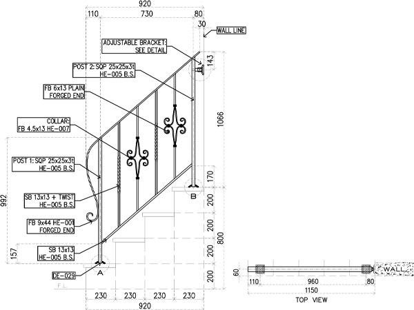 アイアン手すり・階段手すり/サビにくい鉄製ハンドメイド/屋内屋外兼用型・階段手すり・手摺り・手擦り/hr-4-standard2