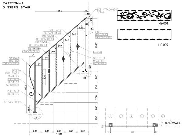 アイアン手すり・階段手すり/サビにくい鉄製ハンドメイド/屋内屋外兼用型・階段手すり・手摺り・手擦り/hr-5-standard1