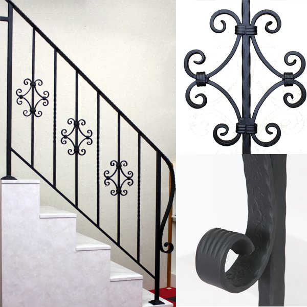 アイアン手すり・階段手すり/サビにくい鉄製ハンドメイド/屋内屋外兼用型・階段手すり・手摺り・手擦り/hr-5-standard3