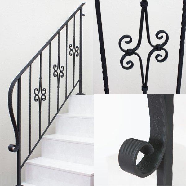 アイアン手すり・階段手すり/サビにくい鉄製ハンドメイド/屋内屋外兼用型・5段タイプ/hr-5-standard2