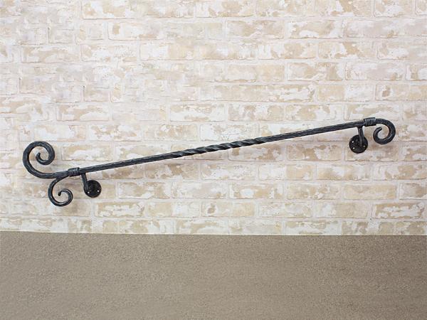 アイアン手すり・階段手すり/サビにくい鉄製ハンドメイド/屋内屋外兼用型・W1200mm/hr-b-2