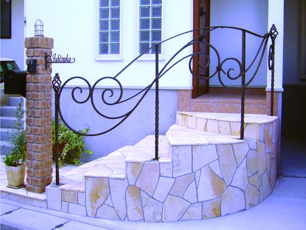 アイアン手すり・階段手すり/サビにくい鉄製ハンドメイド/屋内屋外兼用型・/hr-ex10