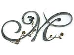 アイアン妻飾り・イニシャルオーナメント/サビにくい鉄製ハンドメイド/植物・花/io-m-2