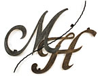 アイアン妻飾り・イニシャルオーナメント/サビにくい鉄製ハンドメイド//io-mh