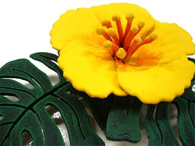 表札;アイアン表札・マンション用表札/サビにくい鉄製ハンドメイド/植物・花・ハイビスカス・ハワイアン/ms-18