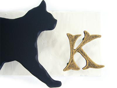 表札;アイアン表札・マンション用表札/サビにくい鉄製ハンドメイド/動物・ネコ・猫/ms-19