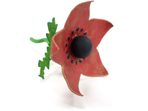 アイアン表札・追加用オブジェ/サビにくい鉄製ハンドメイド/植物・花・アネモネ/obj-anemone