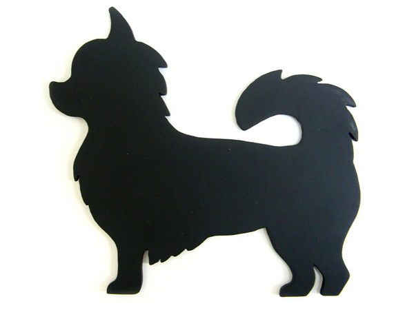 アイアン表札・追加用オブジェ/サビにくい鉄製ハンドメイド/動物・犬・チワワ/obj-b