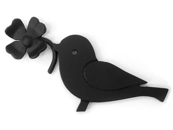 アイアン表札・追加用オブジェ/サビにくい鉄製ハンドメイド/動物・小鳥・植物・四つ葉のクローバー・幸運/obj-e