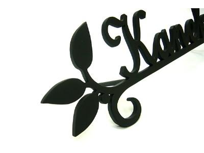 表札 アイアン表札・アートカッティング表札/サビにくい鉄製ハンドメイド/植物・葉/st-02