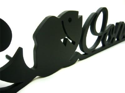 表札;アイアン表札・アートカッティング表札/サビにくい鉄製ハンドメイド/動物・魚・海/st-03
