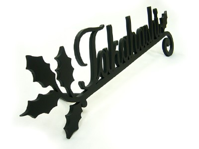 表札;アイアン表札・アートカッティング表札/サビにくい鉄製ハンドメイド/植物・葉/st-05