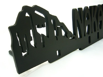 表札;アイアン表札・アートカッティング表札/サビにくい鉄製ハンドメイド/動物・シロクマ/st-07