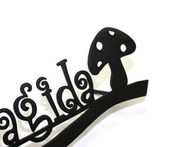 表札;アイアン表札・アートカッティング表札/サビにくい鉄製ハンドメイド/植物・フルーツ・りんご・きのこ/st-12
