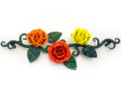 アイアン壁飾り/サビにくい鉄製ハンドメイド/植物・花・バラ・薔薇(鉄製)/walldecoration